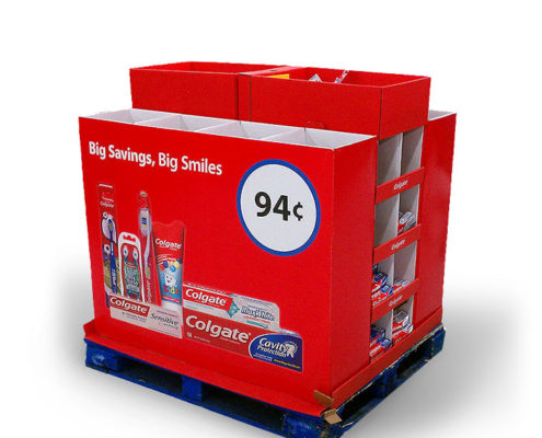 attractive cardboard pallet display for toothpaste and toothbrush