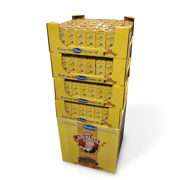 cardboard POP coffee case stacker