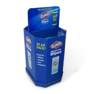 cardboard disinfecting wipes dump bins