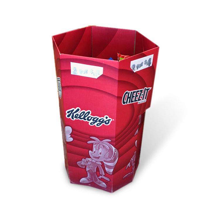 cardboard hexagonal dump bins