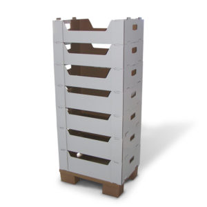 corrugated cardboard display with stackable trays
