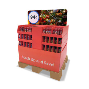 custom half pallet display with stackable trays