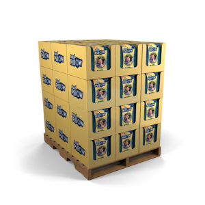 full pallet cardboard display stacked with trays and boxes