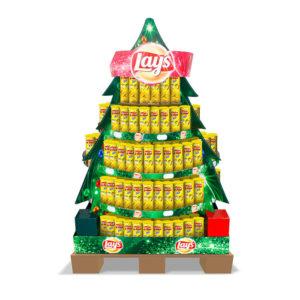 promotion cardboard pallet display in christmas tree shape