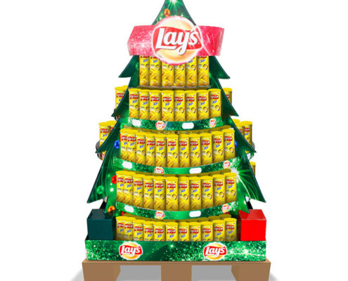 promotion cardboard pallet display in christmas tree shape