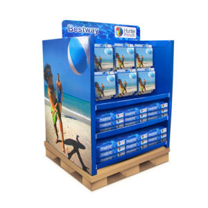 two sided full pallet display with hooks and shelves